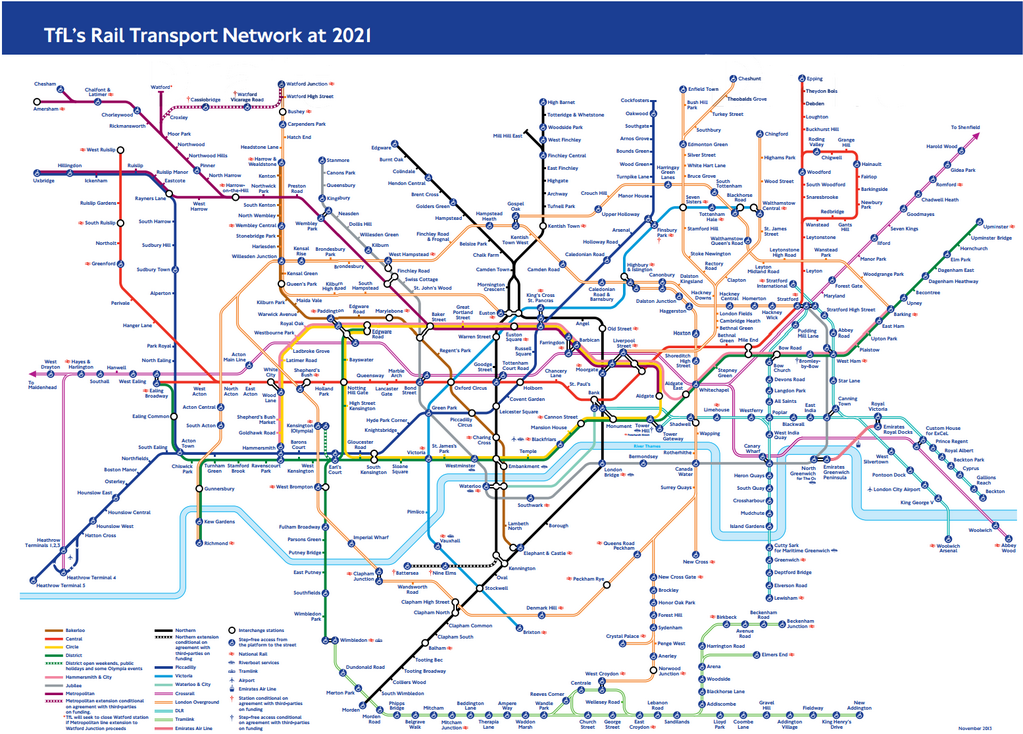 Future Transport Tube Map 2021 StationMasterApp