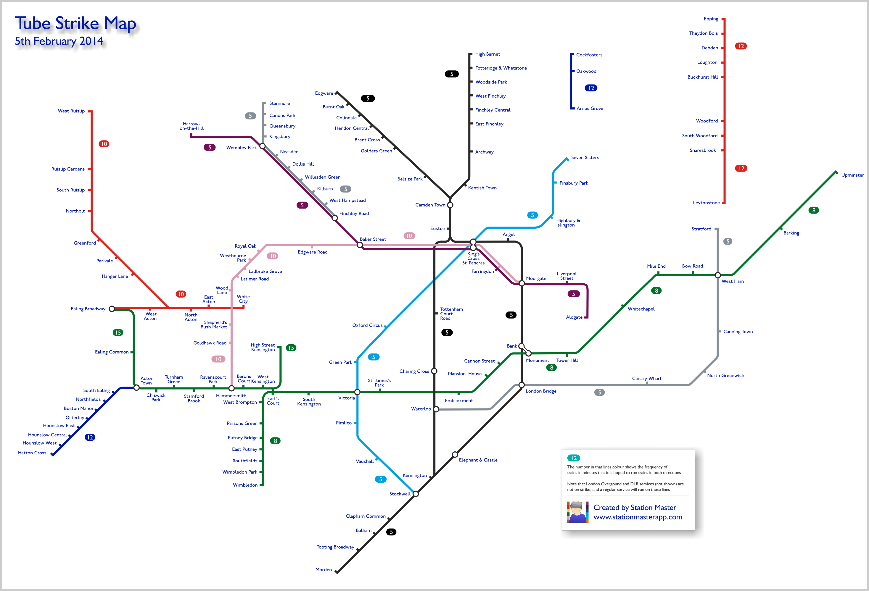 Map of tube stations still open during the strike  Now Here