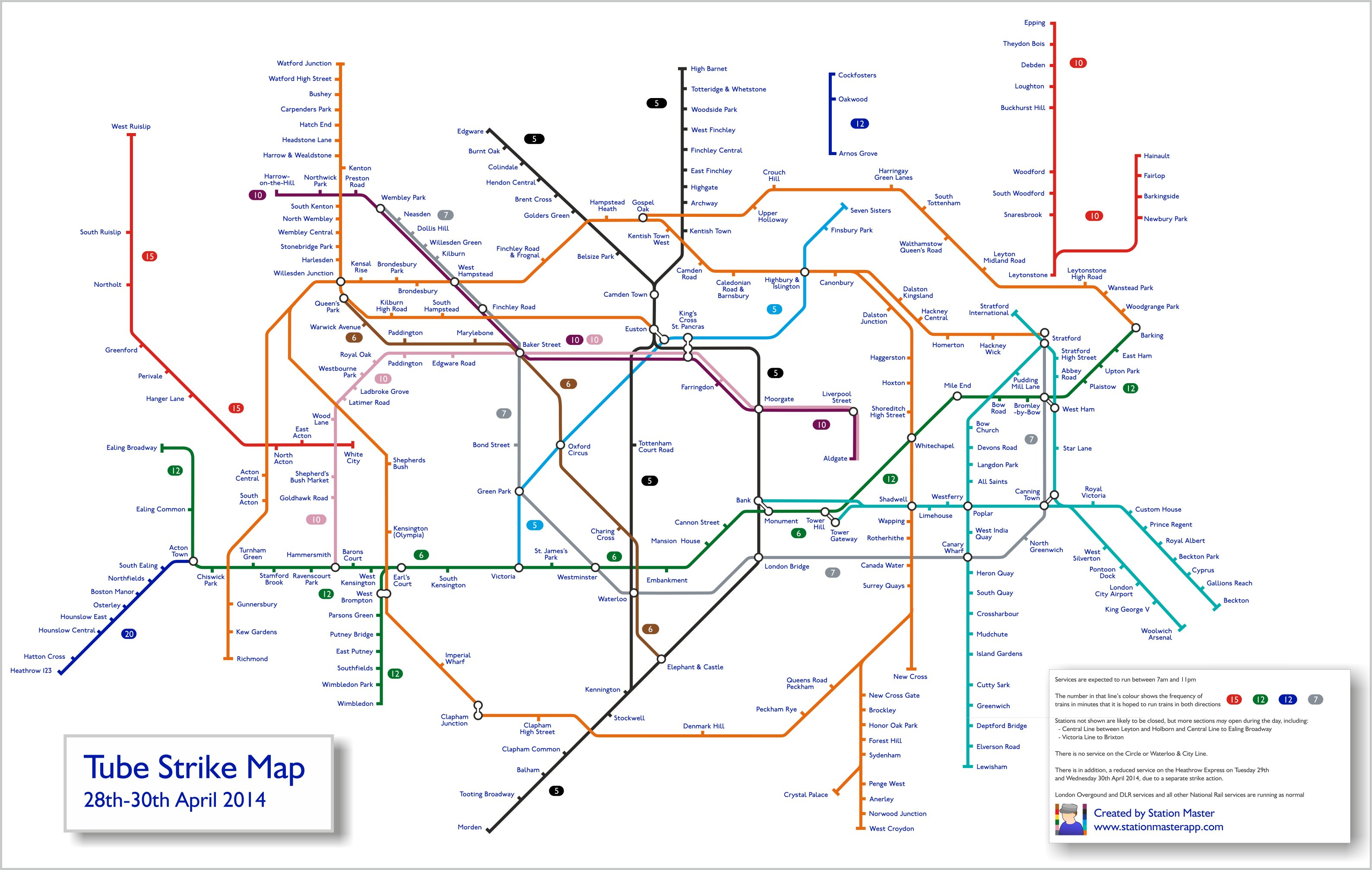 tube strike map april 2014: this is what the london underground map