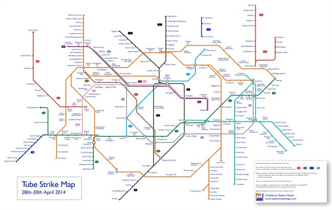 Tube Strike Map, April 2014