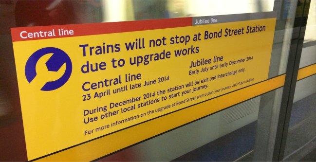 Bond Street Closures Stationmasterapp